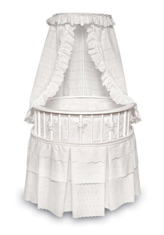 Badger Basket White Elegance Round Baby Bassinet with White Eyelet Bedding