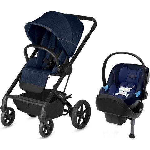 Cybex Balios S Stroller and Aton M US Sensorsafe Car Seat Travel System - Blue - Baby Strollers Place