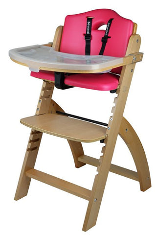 Abiie Beyond Junior Y Wooden Baby High Chair with Cushion and Tray (Natural / Raspberry) - Baby Strollers Place