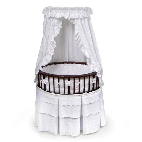 Badger Basket Cherry Elite Oval Bassinet with White Eyelet Bedding - Baby Strollers Place