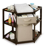 Badger Basket Diaper Corner Changing Table with Hamper and Basket, Espresso - Baby Strollers Place
