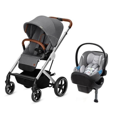 Cybex Balios S Denim Stroller and Aton M US Sensorsafe Car Seat Travel System - Manhattan Grey - Baby Strollers Place