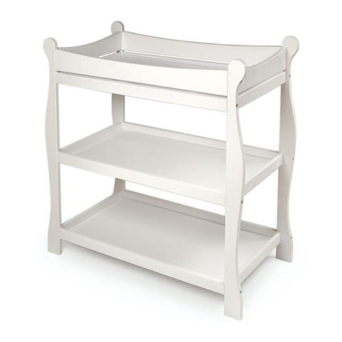 Badger Basket Sleigh Style Changing Table, White - Baby Strollers Place