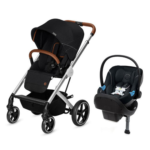 Cybex Balios S Denim Stroller and Aton M US Sensorsafe Car Seat Travel System - Lavastone Black - Baby Strollers Place