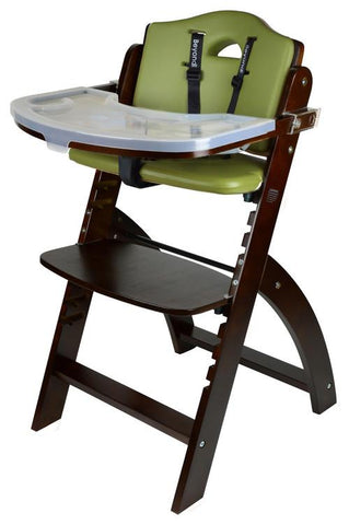 Abiie Beyond Junior Y Wooden Baby High Chair with Tray Table, Mahogany / Green