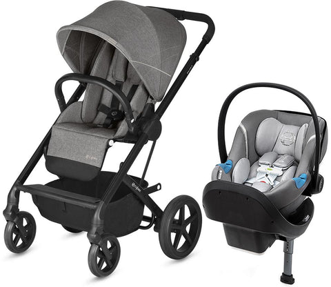 Cybex Balios S Stroller and Aton M US Sensorsafe Car Seat Travel System - Grey - Baby Strollers Place