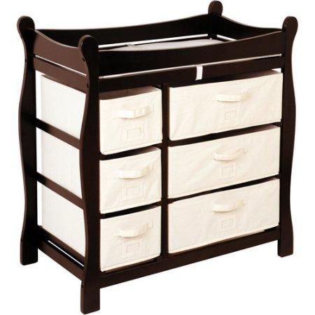 Badger Basket Sleigh Style Changing Table with Six Baskets, Espresso
