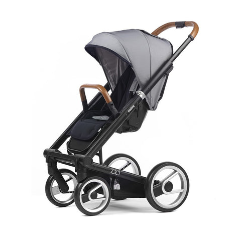 Mutsy Igo Urban Nomad Stroller in Black Frame, White & Blue - Baby Strollers Place