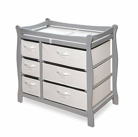 Sleigh Style Baby Changing Table with 6 Storage Baskets and Pad, Gray