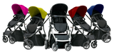 Muv Reis 4-Wheel Stroller in Satin Black/Candy (Bassinet included)