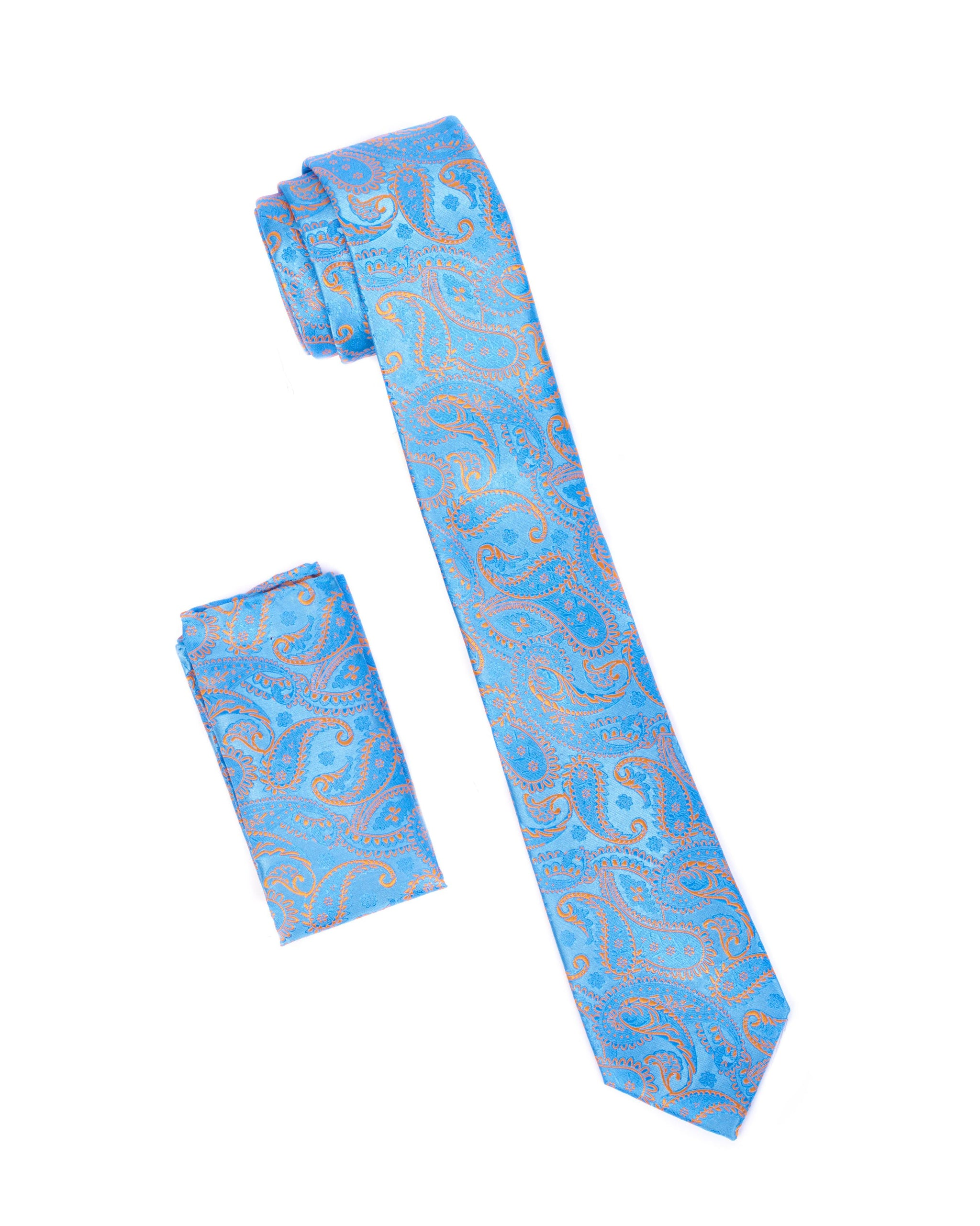 Sky Blue & Mocha Paisley Tie & Pocket Square