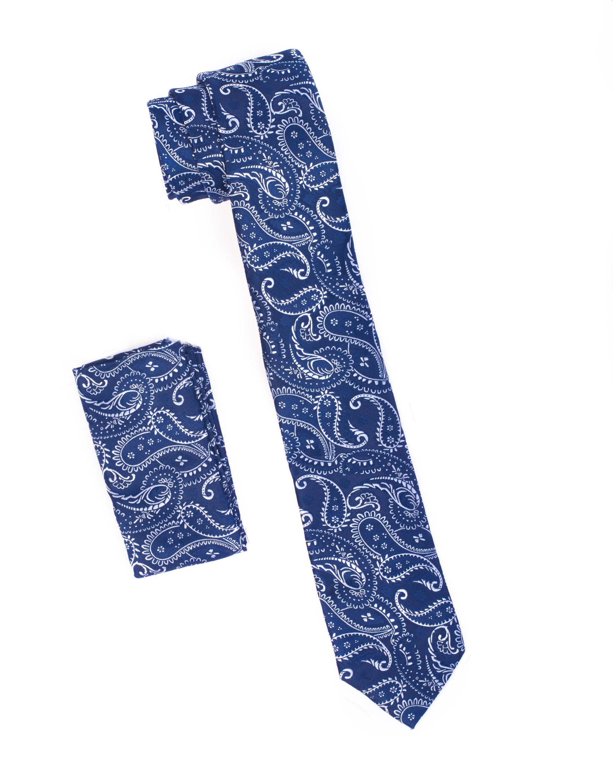 Navy & White Paisley Tie & Pocket Square