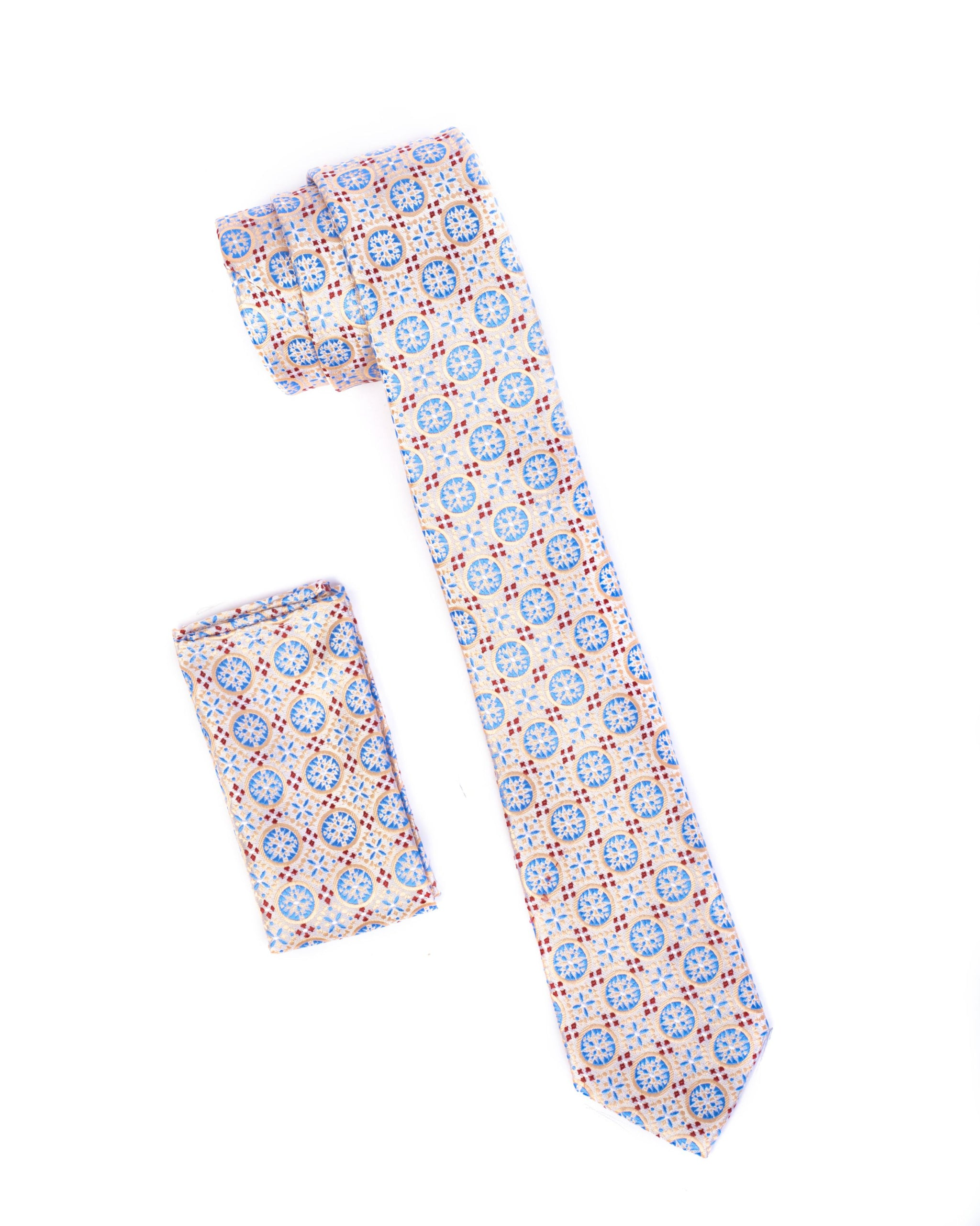 Crème & Sky Blue Circle Patterned Tie & Pocket Square