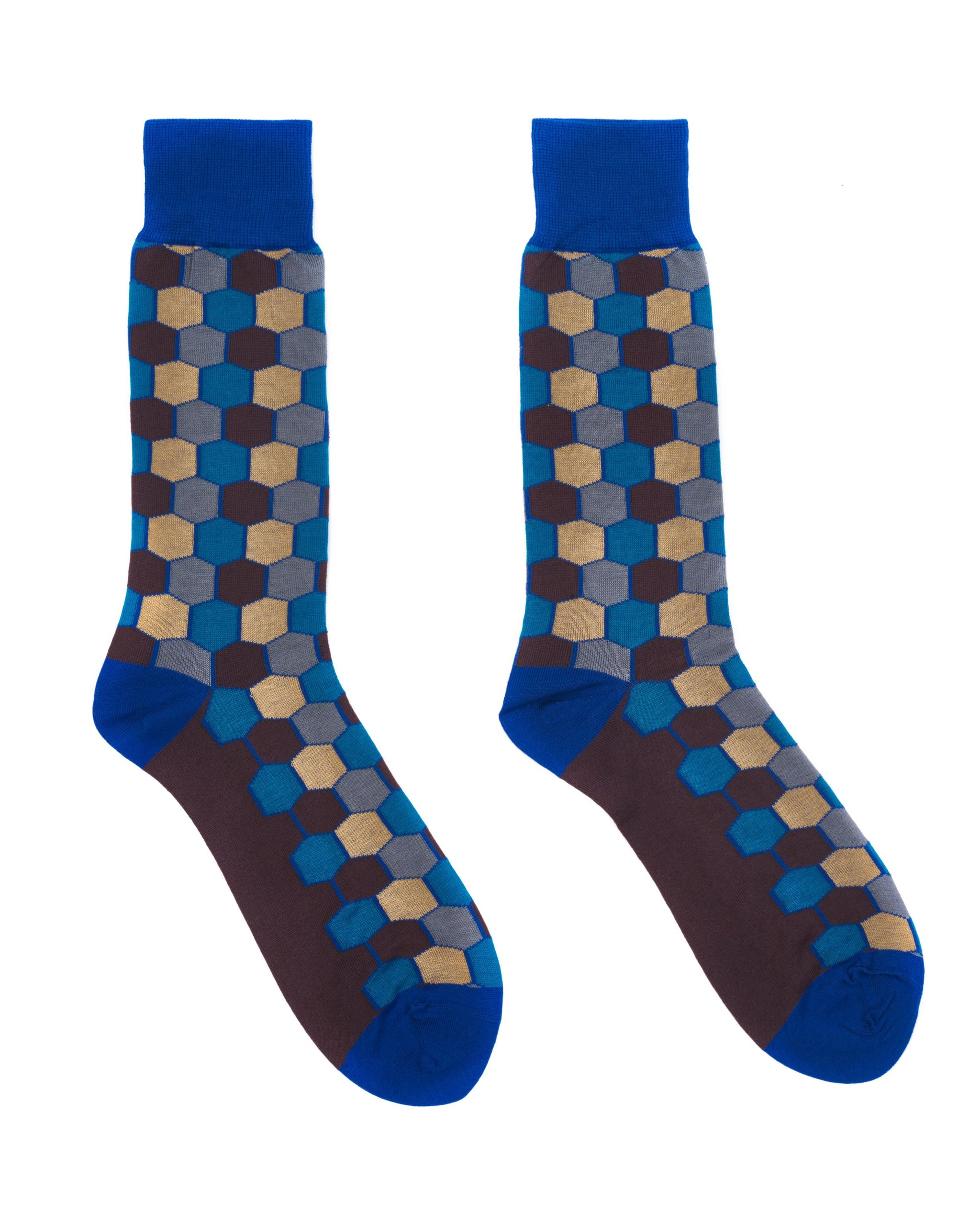 Blue, Brown & Tan Hexagon Socks