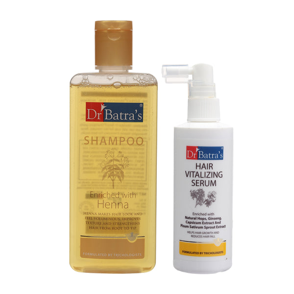 Dr Batra's Normal Shampoo 200ml and Hair Vitalizing Serum 125 ml (Pack of 2 Men and Women)