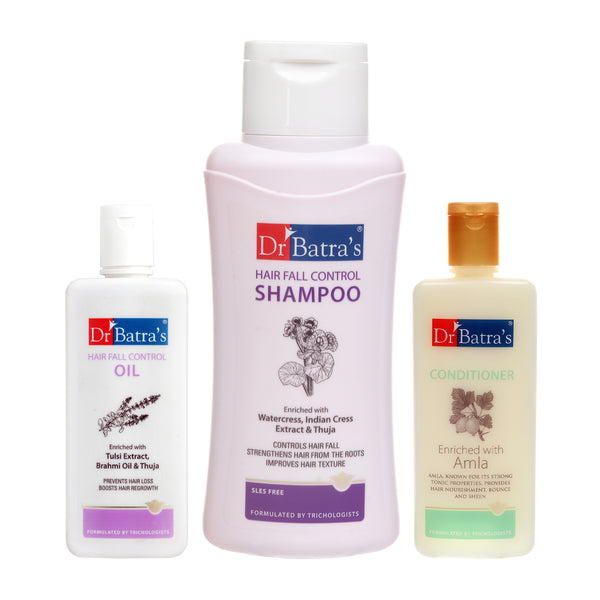 Dr Batra's Hair Fall Control Shampoo 500 ml Conditioner 200 ml and Hair Fall Control Oil 200 ml (Pack of 3 Men and Women)
