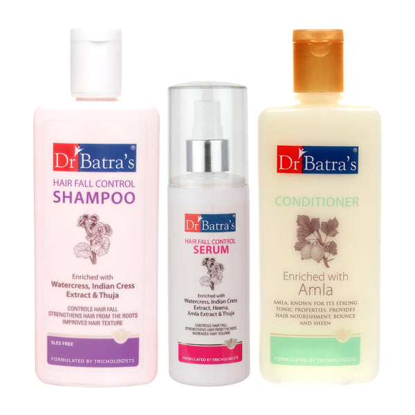 Dr Batra's Hair Fall Control Shampoo 200ml, Conditioner 200 ml and Hair Fall Control Serum 125 ml (Pack of 3 Men and Women)
