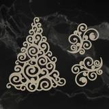Couture Creations Chipboard - Swirling Christmas Tree