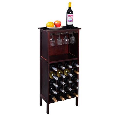 Burgundy Wood Wine Cabinet Bottle Rack for 20 Bottles