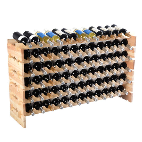 Wooden Bottle Rack Wine Display Shelves for 72 Bottles