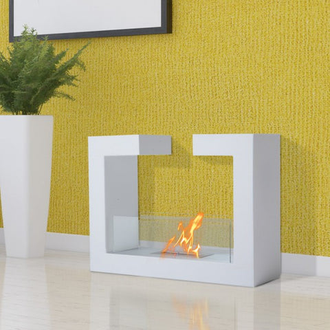 Freestanding Fireplace Tempered Glass Stainless Steel