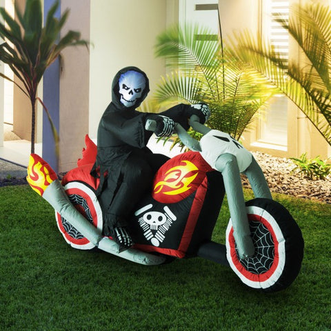 7.5' Lighted Halloween - Grim Reaper Flaming Motorcycle
