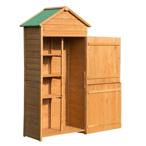 Wood Garden Shed Cabinet Lockable Unit with Double Door