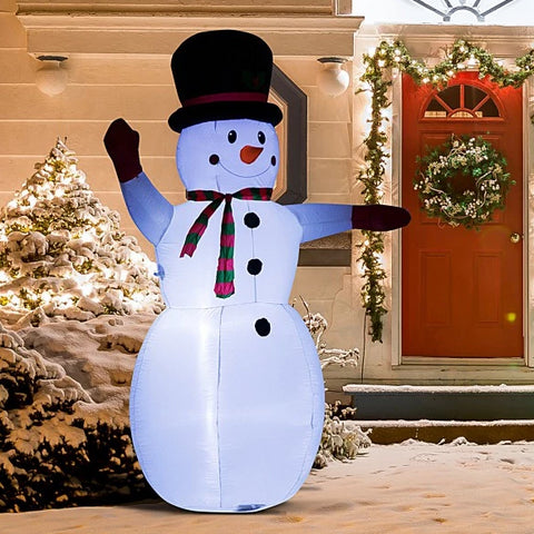 8 Ft  Lighted Inflatable Christmas- Waving Snowman
