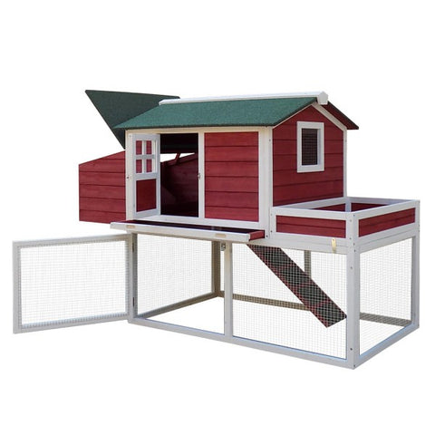 Pawhut Deluxe 2- Storey Poultry Coop and Cage with Ramp