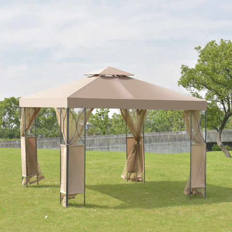 2-Tier 10' x 10' Patio Steel Gazebo Canopy Shelter
