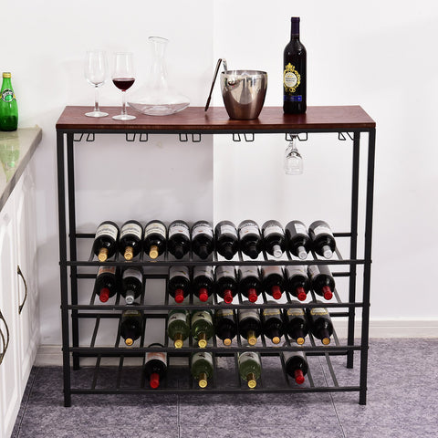 Industrial 40 Bottles Wine Rack w/ Stemware Storage