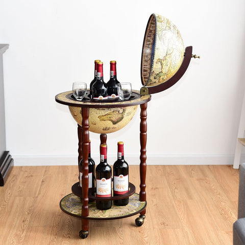 "17"" Italian Wood Globe Liquor Bottle Wine Rack"