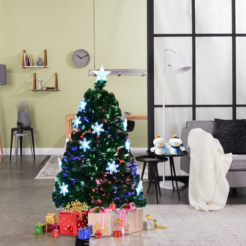 Multi-Color Artificial Christmas Tree w/ Snowflakes