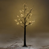 Xmas Brown Birch Snow Tree w/ LED Lights