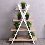 X-Shape 4-Tier Display Shelf Rack Potting Ladder