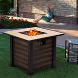 "30"" Square Outdoor Fireplace Propane Gas Fire Pit  Table"