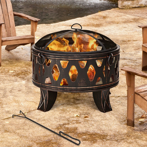 "28"" Outdoor Fire Pit BBQ Portable Camping Firepit Heater"