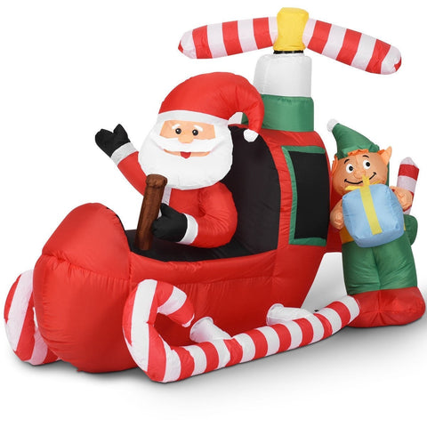 6' Christmas Decoration Inflatable Flying Airplane Santa