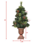 3'/4'/5' LED Christmas Tree with Red Berries Pine Cones
