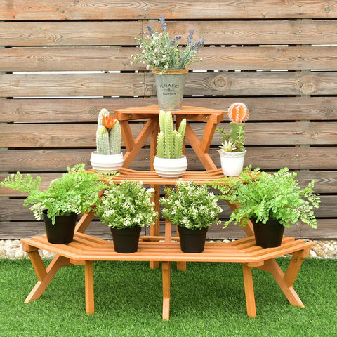 3 Tiers Wooden Corner Plant Ladder Pot Holder Rack