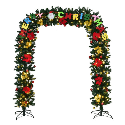 7.5' x 5' LED Pre-Lit Artificial Arched Christmas Tree Archway