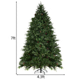 7'/7.5'/8' Artificial Christmas Tree w/ LED Lights & Pine Cones
