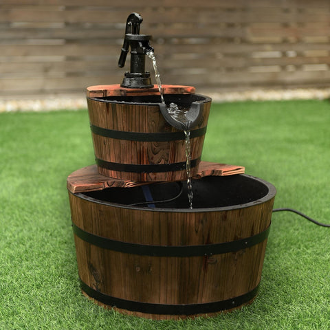 2 Tier Outdoor Barrel Wooden Waterfall Fountain