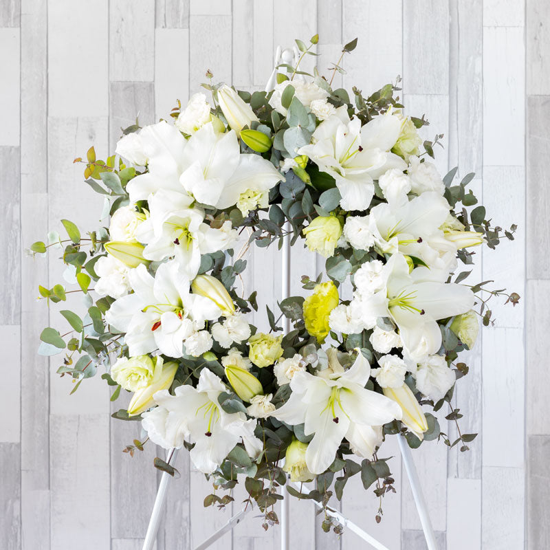 White Oriental Lily and Carnation Wreath