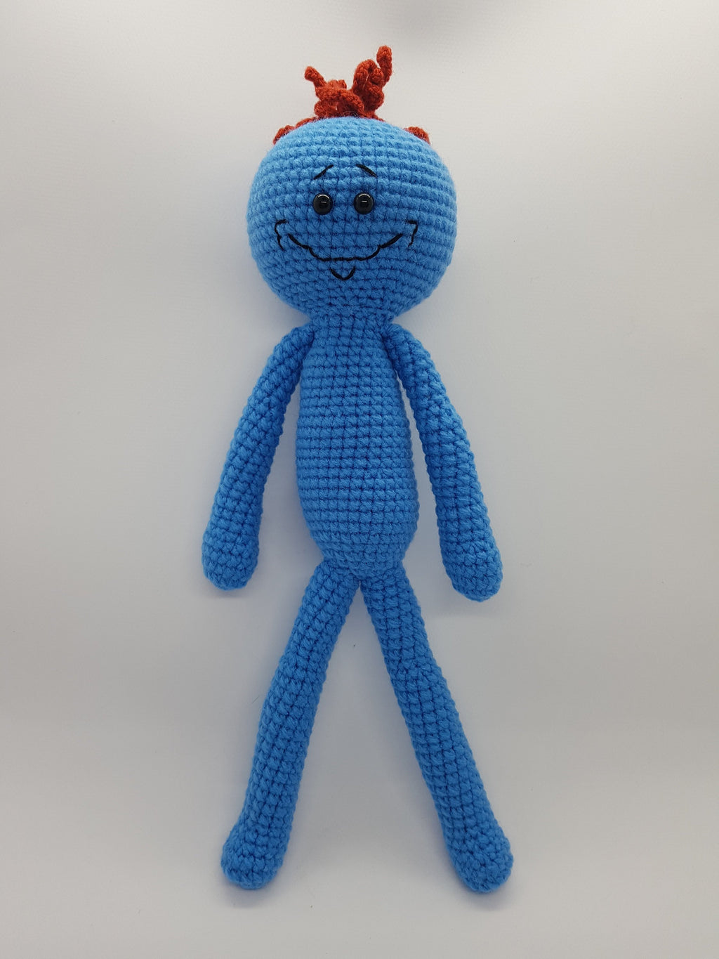 mr meeseeks from rick and morty amigurumi