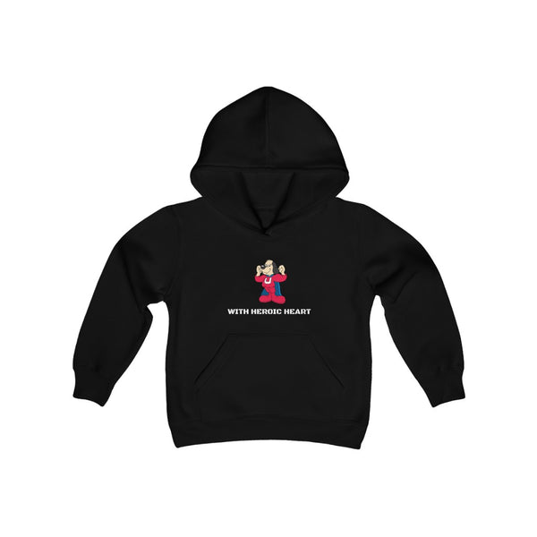 Underdog with Heroic Heart Youth Heavy Blend Hooded Sweatshirt