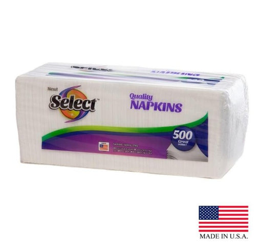 Select White Napkin, 1 Ply - 500 per Pack, 12 Packs per Case