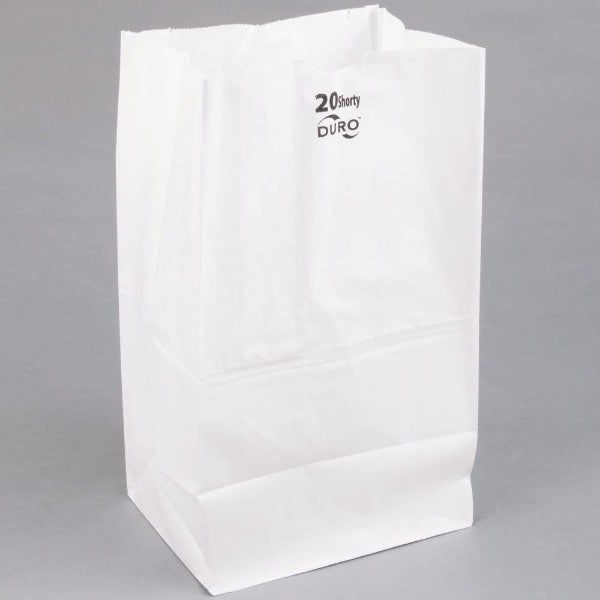 "Duro 20 Lb White Paper Bag, 8x16"" - 500 per Case"