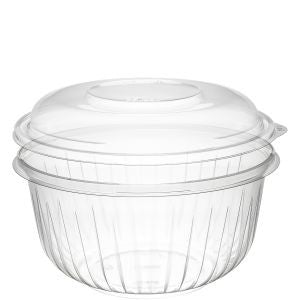 Dart PresentaBowl, 48 Ounce Clear Bowl w/ Dome Lid - 126 Bowls and 126 Lids per Case