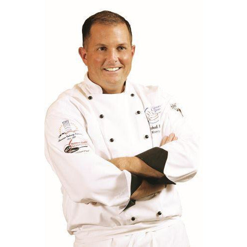 Chef Revival J013 Executive Jacket - White Long Sleeve w/ Black Cuff Trim
